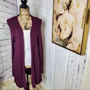 Apt. 9 plum purple open cardigan